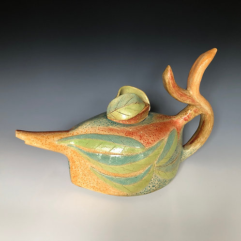 """Sunset and Leaves teapot"" by Celma Kirkwood"