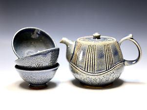"""Teapot Set in True Blue"" by Miki Shim Rutter"