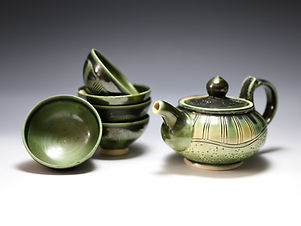 """Teapot set in Green"" by Miki Shim Rutter"