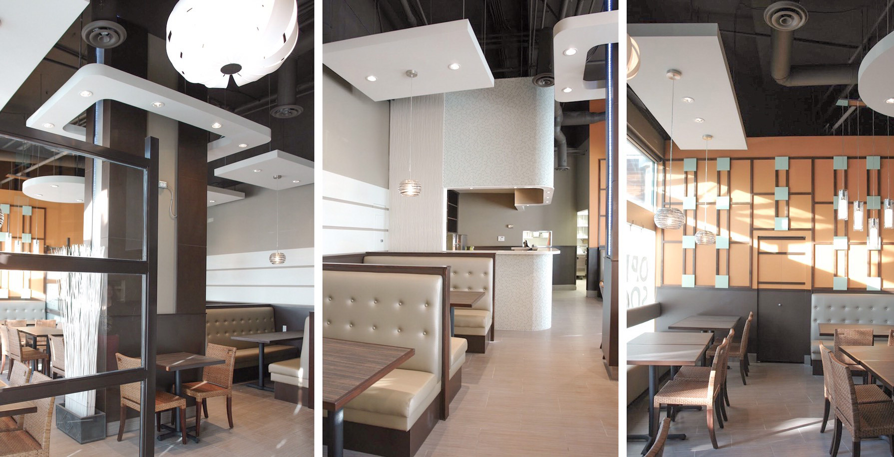 Modern Restaurant Exposed Ceiling