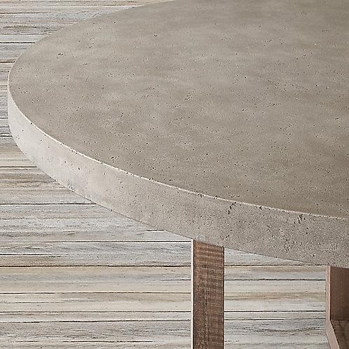 RESTORATION HARDWARE-HESTON ROUND DINING TABLE TOP+SALVAGED WOOD TRESTLE STAND