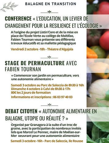 Autonomie alimentaire, Conférence, education, ecologie, formation permaculture, balagne en transition, débat citoyens