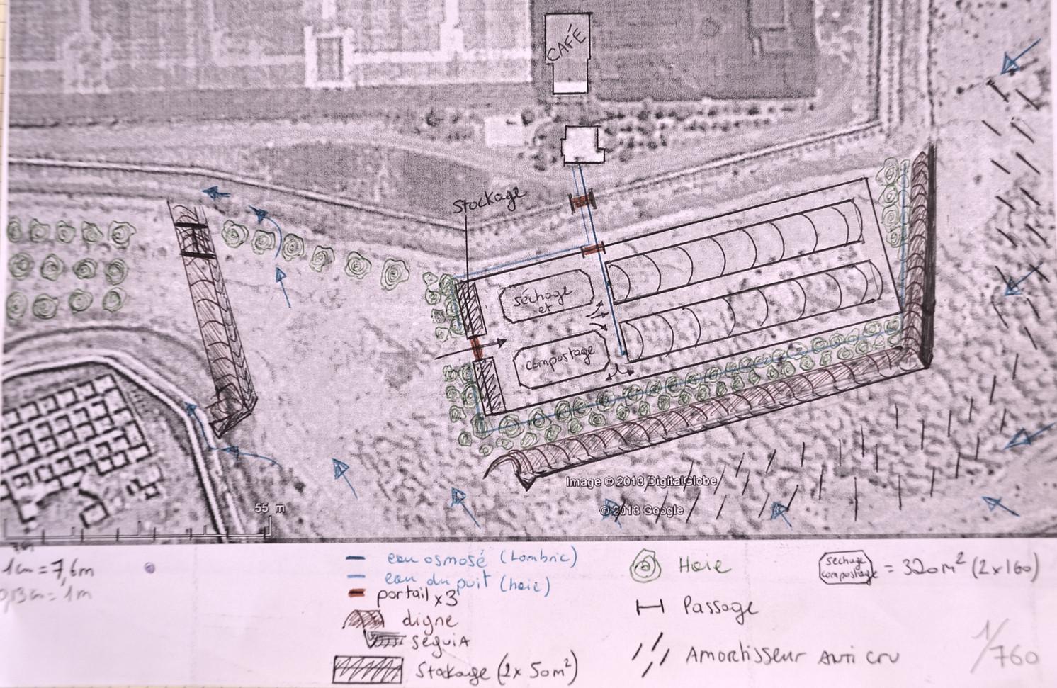 Ebauche dessin plan base sur zone