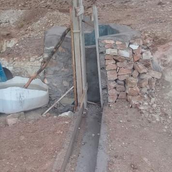 Construction du décanteur avec passage sous la route...