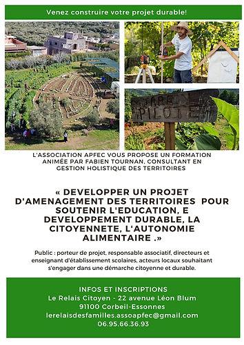 developper un projet d'aménagement des territoires pour soutenir l'éducation, le developpement durable la citoyennete, l'autonomie alimentaire