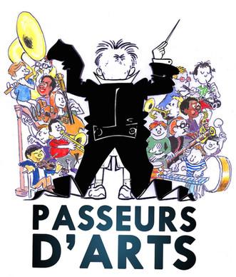 Le logo du p'tit chef Passeurs d'Arts, avec des amis et des couleurs