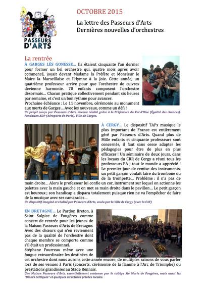 Octobre 2015... La lettre des Passeurs d'Arts