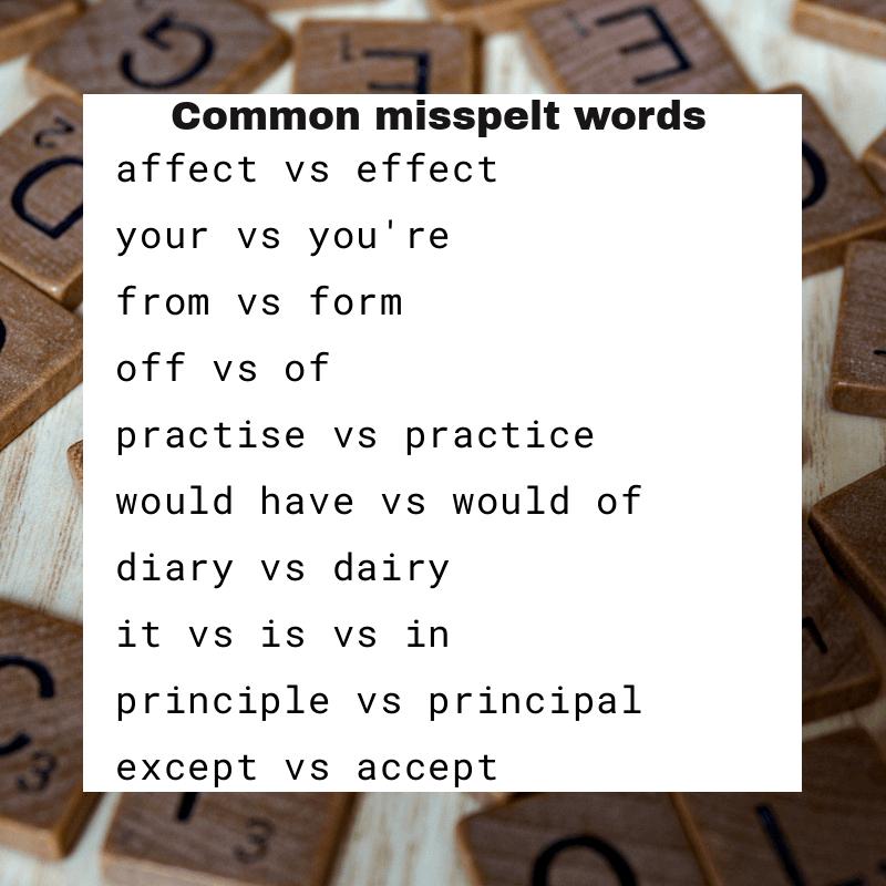 Common misspelt words