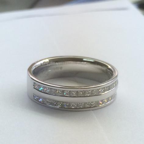 Two Row Princess Cut Diamond Wedding Ring