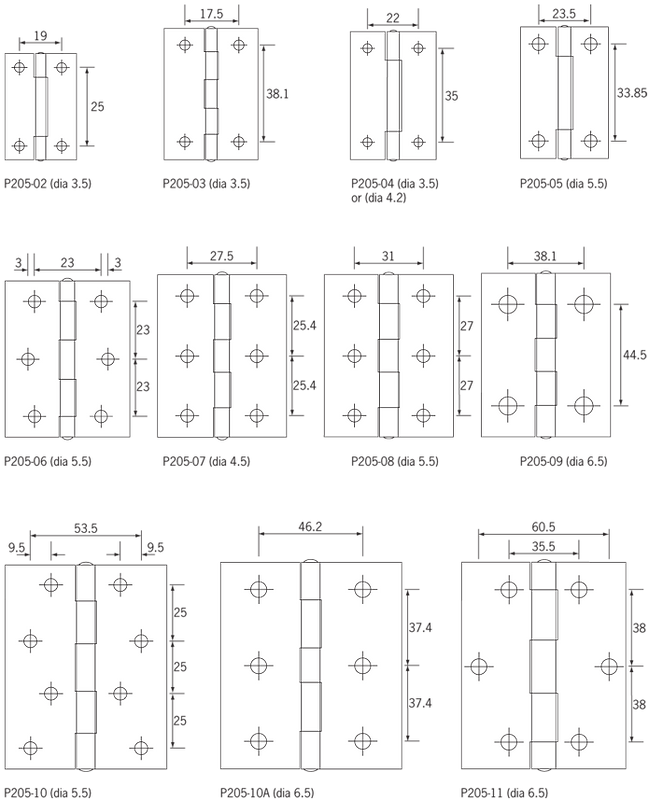 P205_Hinges_Flat_backed_Hole_positions.p
