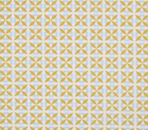 Coton imprimé losange moutarde bleu ciel 14€/m