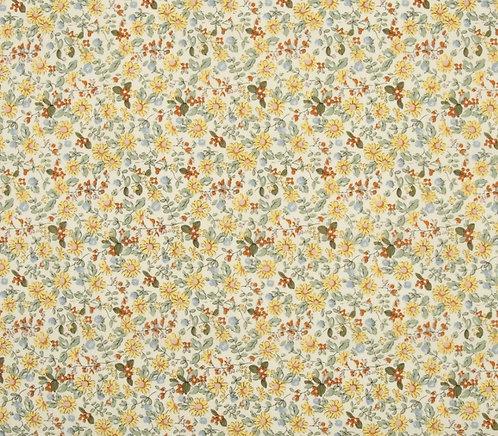 Coton imprimé fleurs jaune et orange 14€/m