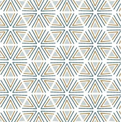 Coton imprimé géométrique bleu blanc 14€/m