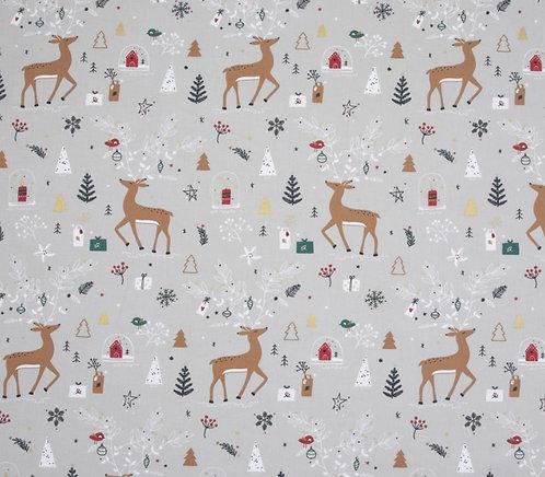 Coton imprimé Noël gris biche 14€/m