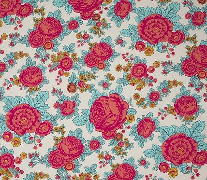 Popeline de coton fleurs rose et bleu fond blanc 14€/m