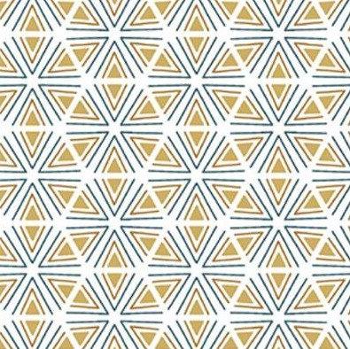 Coton imprimé géométrique jaune bleu blanc 14€/m