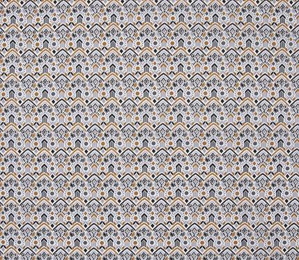 Coton imprimé motif ethnique ton gris et ocre 14€/m