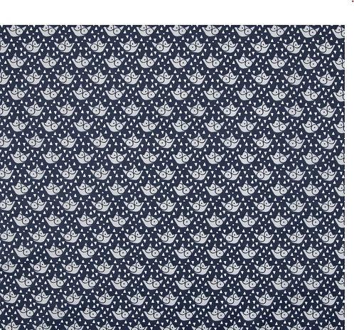 Coton imprimé tête de renard bleu et gris 14€/m