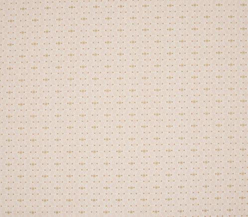 Coton imprimé motif blanc et or fond rose pale 14€/m