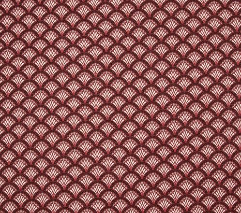 Coton imprimé éventail rouge 14€/m
