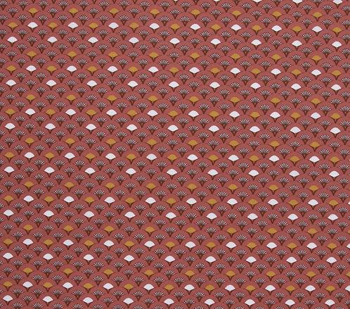 Coton imprimé éventail fond marsala 14€/m