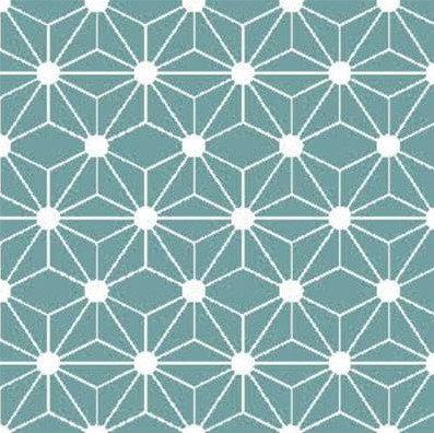 Coton imprimé géométrique bleu 14€/m