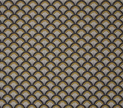 Coton imprimé éventail jaune gris 14€/m