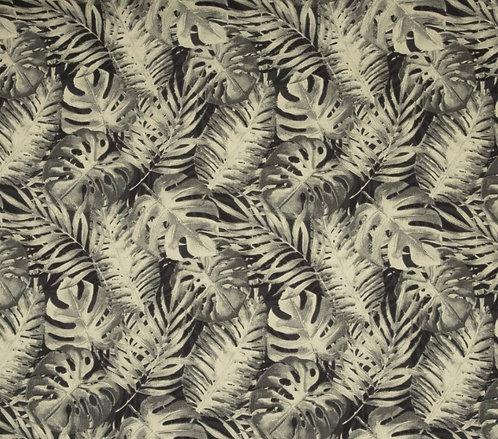 Toile de coton épaisse feuilles tropicale fougère crème 15,90€/m