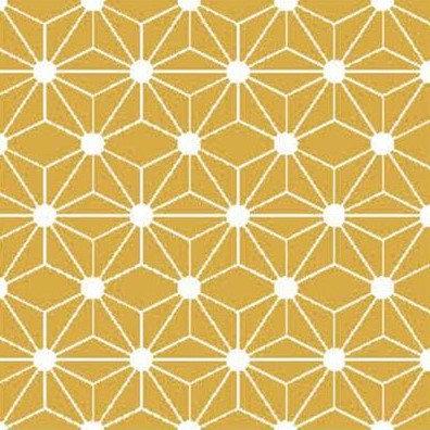 Coton imprimé géométrique moutarde 14€/m
