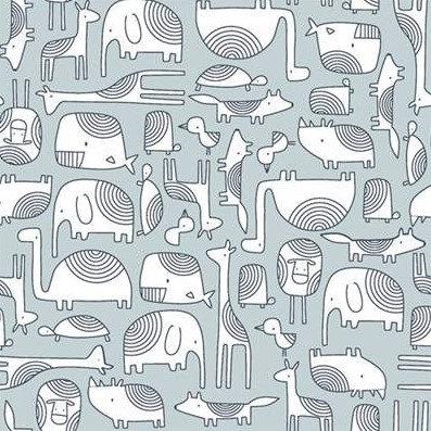 Coton imprimé animaux fond bleu gris 14€/m