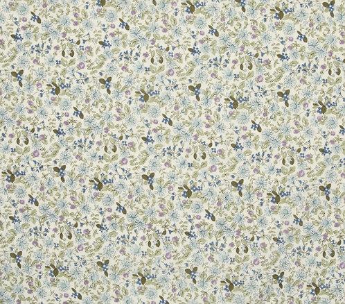 Coton imprimé fleurs bleu et mauve 14€/m