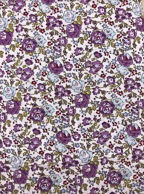 Coton imprimé fleurs violette et bleu ciel 14€/m