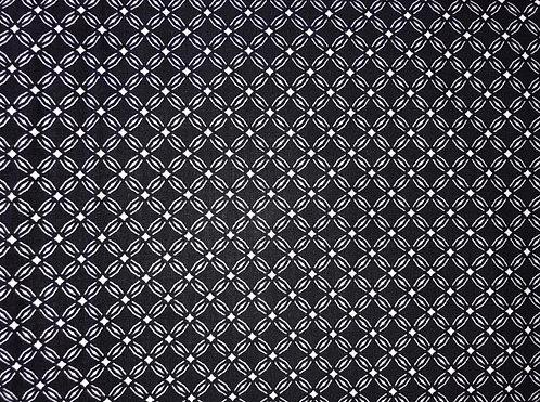 Coton imprimé motif blanc fond bleu marine 14€/m