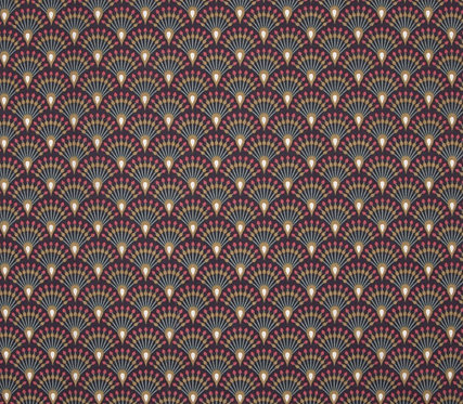 Coton imprimé éventail rouge aubergine 14€/m