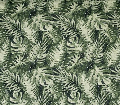 Toile de coton épaisse feuilles tropicalefougère verte 15,90€/m