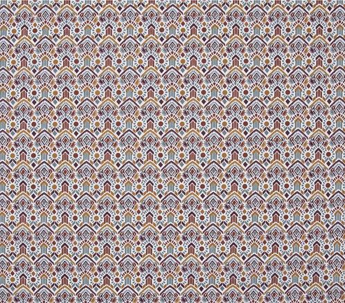 Coton imprimé motif ethnique ton bordeaux et ocre 14€/m