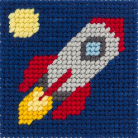 Kit canevas enfant La lune en fusée