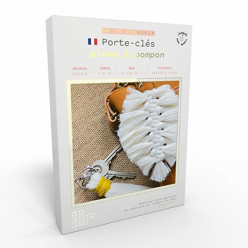 Kit Macramé Porte clés - Plume et Pompon