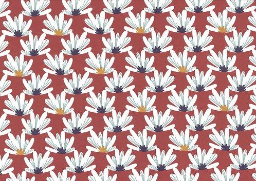 Coton imprimé Grosse fleurs blanche fond terracotta 14€/m