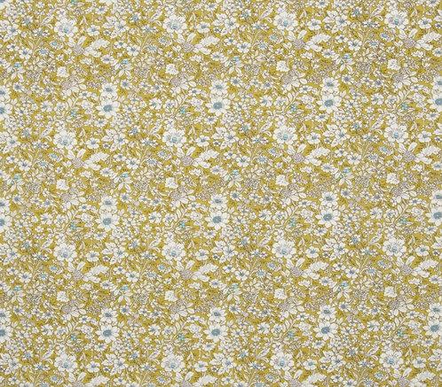 Coton imprimé fleurs blanche fond anis 14€/m