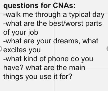 CNA research questions