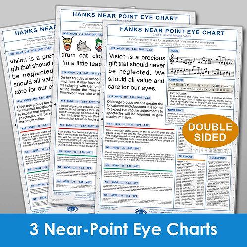 Hanks Near Eye Charts (Set of 3 charts)