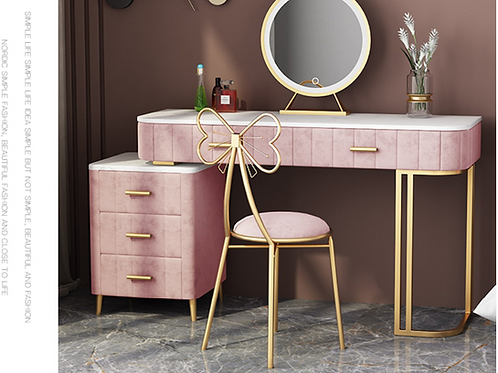 Pink Celebrity Style dressing table (Marble table top)