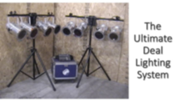 2 Four Bars - 600W PAR 64s W/Satellite Dimmers, USS Tripod Stands, Controller, & Control Cables
