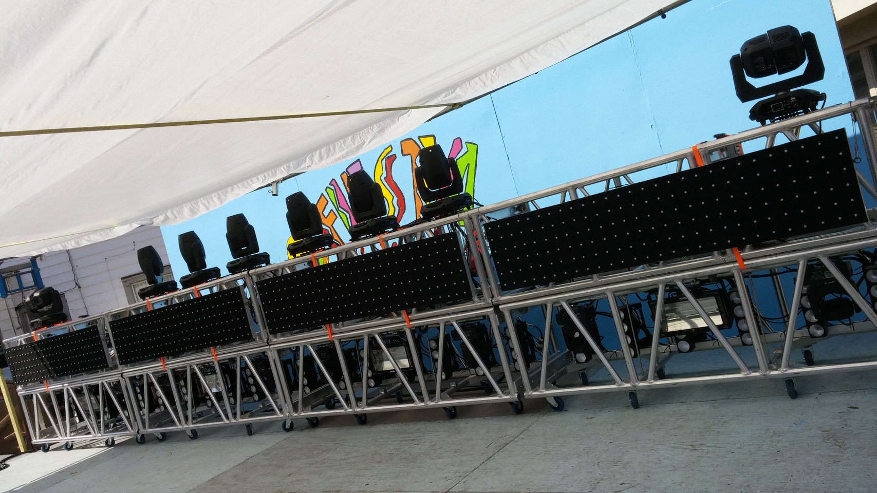 Automated lights, LED Softcurtains, Truss, Distro, & Console