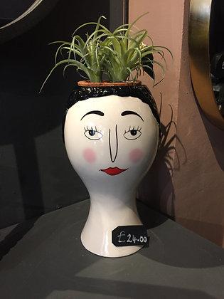 Ceramic DOODLE WOMAN'S Face Vase/Planter - BLUSH