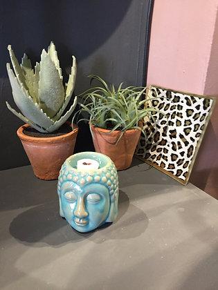 Light blue ceramic Buddha head gift set oil burner