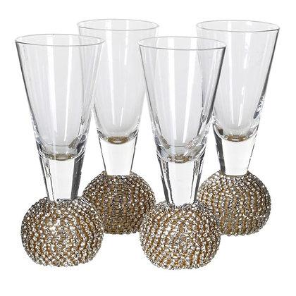 Gold Diamante Shot Glasses - Set of 4