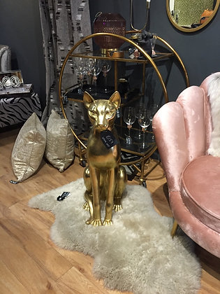 Gold sitting cat ornament statue