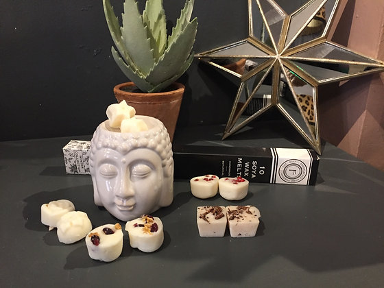 White ceramic Buddha head wax burner with 10 winter melts gift set